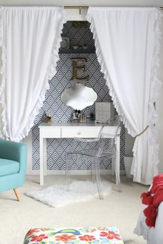 Creating a desk space in a closet- closet makeover- One Room Challenge Space- ORC- Modern Teen Hangout Bedroom- Tween Bedroom- Bedroom Redo- Modern- Colorful Room- Girls Bedroom- Minted Art Work- At Home stores- Room Redo