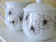 Items similar to Hand Painted Dandelion Cream and Sugar Set on Etsy Black And White Dishes, Dandelions, Cream And Sugar, Porcelain, Decor Ideas, Hand Painted, Unique Jewelry, Glass, Handmade Gifts
