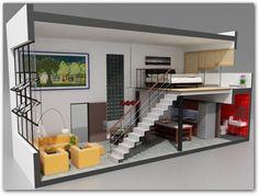 23 ideas for house ideas tiny loft Studio Loft Apartments, Small Apartments, Small Spaces, Loft Studio, Studio Apartment Floor Plans, Mini Loft, Apartment Layout, One Bedroom Apartment, Bedroom Loft