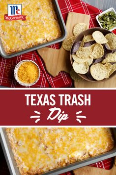 Texas Trash Dip No matter where you live this ultimate cheesy bean dip recipe is the perfect game day party appetizer. Taco Seasoning cheese and refried beans combine to create an irresistible and easy party dip. Yummy Appetizers, Appetizers For Party, Appetizer Recipes, Snack Recipes, Dinner Recipes, Cooking Recipes, Snacks, Easy Party Dips, Texas Trash