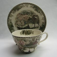 Vintage Johnson Brothers Friendly Village Oversized XL Jumbo Cup and Saucer - scored a set of 7 today