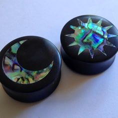 "Abalone Sun and Moon Inlay on Ebony Plugs PAIR 0g (8mm) 00g (9mm) (10mm) 7/16"" (11 mm) 1/2"" (13 mm) 9/16"" (14 mm) 5/8 (16 mm) Ear Gauges on Etsy, $50.00"