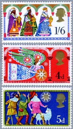 Leena, our Postationist Elf, watches as the children of Britain hang their stockings by the fireplace or a pillowcase at the end of their bed, awaiting Santa Claus. Her mouth waters when she sees them feasting of yummy desserts like mince tarts and plum pudding with brandy sauce. What a treat! (Stamp: Great Britain 1969)