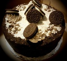 Oreo Cookie cake with Oreo cookies and cream filling and Oreo crumb coating~Diane