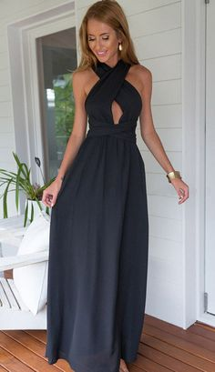 Solid Color Free Matching Maxi Dress