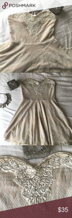 CLOSET CLEAR OUT Strapless Free People dress A beautiful embroidered, light cream, strapless dress! Can be dressed up or down for any occasion 💞 give me your best offer! Free People Dresses Strapless