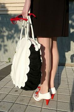 Piksi in Minna Parikka shoes and bag -- adorable details, seamed stockings!