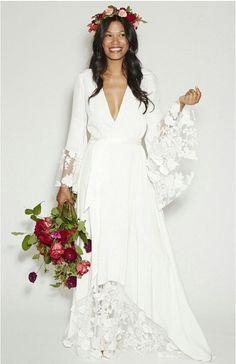2015 New Arrival Fashion BOHO Bohemian Hippie Style Beach Wedding Dresses Long Sleeves V Neck Lace Flower Plus Size Wedding Gown