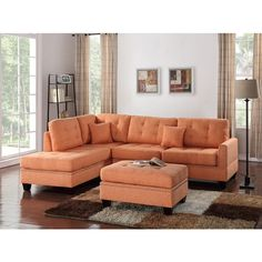 3 pc Martinique II collection citrus poly fiber fabric upholstered... ($496) via Polyvore featuring home, furniture and sofas