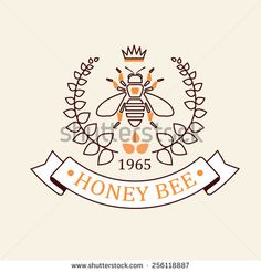 Vector set of honey and bees labels, badges and design elements
