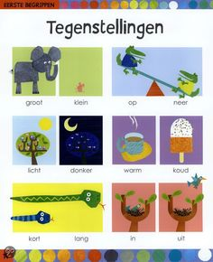 Tegenstellingen Learn Dutch, Dutch Language, School Games, Kindergarten, Writing Practice, Math Classroom, Speech And Language, Preschool Activities, Diy Crafts