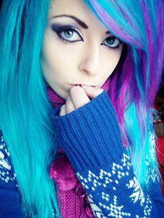 Dyed Hair Purple, Dye My Hair, Ombre Hair, Purple Streaks, Purple Highlights, Pink Hair, Pink Purple, Emo Scene Hair, Emo Hair