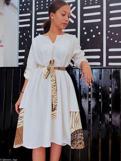 Kelly dress - white by woen-ilga - Short dresses - Afrikrea African Fashion Ankara, Latest African Fashion Dresses, African Print Fashion, Africa Fashion, Short African Dresses, African Print Dresses, Short Dresses, African Dresses Online, Ankara Dress Styles