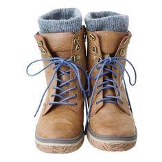 ニット付レースアップブーツ[MSZ-L26-88%23M] ❤ liked on Polyvore featuring shoes, boots, ankle booties, zapatos and botas