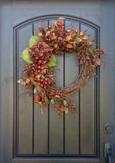 Fall Wreath Autumn Wreath Rustic Pine Twig Grapevine Door Wreath Decor Woodsy Wispy Branches Brown Berry Wreath Indoor Outdoor Decoration by AnExtraordinaryGift on Etsy