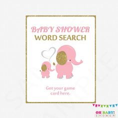 Pink Elephant Baby Shower Games Pink and Gold Baby by OhBabyShower