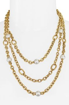 Majorica 10mm Pearl Station Multistrand Necklace available at #Nordstrom