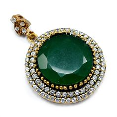 Silvesto India Emerald And Topaz (Lab) 925 Sterling Silver With Bronze Turkish Pendant Jewelry PG-7187  https://www.amazon.com/dp/B01ETGPZZK