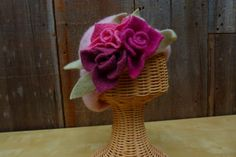 Light pink felted wool hat with felted flowers by Jessicadewolf, $45.00