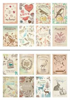 Nature stamp / sticker set - 2 sheets - 9.8cm x 7cm - 16 stickers