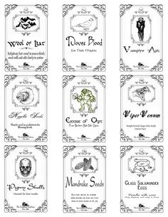 Potion Labels Page_4 by a_granger, via Flickr