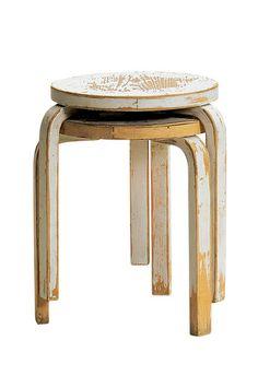 Homes: London Design: Artek's Second Cycle vintage stacking stools http://twentytwentyone.com/