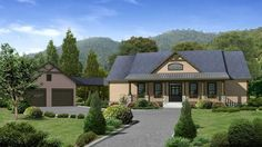 Check out the detached 2-car garage with a covered courtyard entry in Plan 957-00012! This 2,860 sq. ft. traditional home has 4 bedrooms, 4 bathrooms, a sunroom, and a media room.