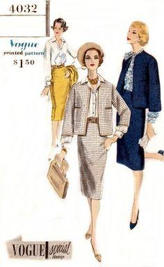 Vogue 4032 Stately Suit & Blouse 1959