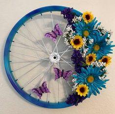 Bike wheel w/flowers