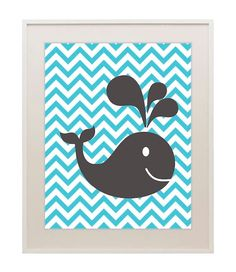 Whale art print children's wall decor baby boy by TheLazyLlama