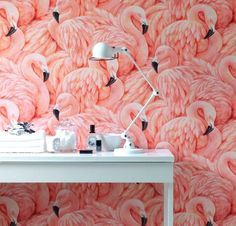 16 Ways to Bring the Flamingo Trend into Your Home via Brit + Co. | I love flamingoes and this is one trend I would fully embrace, especially the flamingo wallpaper.