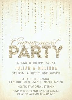 Invitation Card For Engagement  Vintage Ivory Art Deco  Perfect