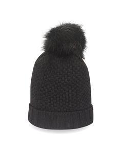 Kaschmir Mütze mit Bommel schwarz front