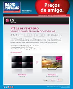 Newsletter - A Maior LED TV 3D Ultra-HD está na Radio Popular!    http://www.radiopopular.pt/newsletter/2013/05/