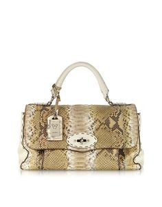 Ghibli Dallas Brown Python Leather Satchel Bag at FORZIERI