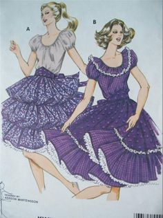 KWIK SEW 1158 MISSES RAGLAN SLEEVE SQUARE DANCE DRESS PATTERN SIZE 14 TO 18 #KwikSew #raglansleevesquaredancedress