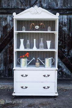 White and Weathered Grey Armoire – Tuesday's Treasures Refurbished Furniture, Painted Furniture, Repurposed Furniture, Diy Furniture Projects, Diy Projects, Project Ideas, White Furniture, Cool Furniture, Tv Armoire