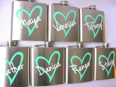 7 Bridesmaid flask, 6 ounce, stainless steel personalized flask.  Bridesmaid and Maid of honor gift.  Tiffany blue heart design. $84.00, via Etsy.