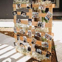 ‼️ decoração Engagement Decorations, Outdoor Wedding Decorations, Pallet Wedding, Boho Wedding, Graduation Party Decor, Vintage Party, Wedding Pictures, Photo Wall, Backyard