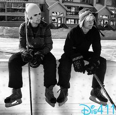 Ross Lynch and Rocky Lynch playing hockey