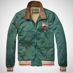 Baseball Jacket with Leather Collar by Scotch & Soda
