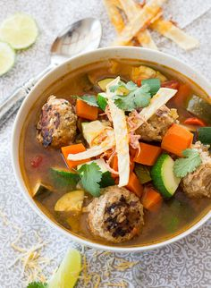 This classic Mexican meatball soup is smokey, spicy and hearty, perfect for a cold winter evening. If you enjoy authentic Mexican food, this soup. Mexican Meatball Soup, Mexican Meatballs, Meatball Recipes, Turkey Meatballs, Cabbage Recipes, Mexican Food Recipes, Soup Recipes, Cooking Recipes, Mexican Dishes