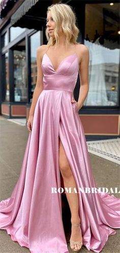 A-line V-neck Straps Long Pockets Prom Dresses With Split, Source by focusdressshop dance dresses for teens Pretty Prom Dresses, Simple Prom Dress, Grad Dresses, Cheap Prom Dresses, Ball Dresses, Cute Dresses, Evening Dresses, Formal Dresses, Formal Prom