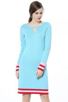 Knitbest Women's Knitwear Long Sleeve Rib Crewneck Front Keyhole Casual Slim Fit Dress Slim Fit Dresses, Knit Sweater Dress, Knitwear, Crew Neck, Blouse, Long Sleeve, Casual, Sweaters, Clothes