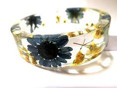 Bangle Bracelet Resin and Botanical Flowers by caughtREDhandedTOO, $38.00