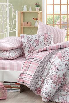 Çift Kişilik Teryycotton Nevresim Takımı Linen Bedding, Bedding Sets, Duvet, Shaby Chic, Pink Bedrooms, Beautiful Bedrooms, Bed Covers, Bed Spreads, Bed Sheets