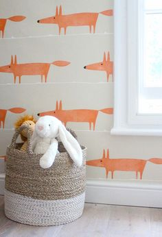 a lovely fox wallpaper! Modern Country Style: Kate's Creative Space Full Home Tour Click through for details.what a lovely fox wallpaper! Modern Country Style: Kate's Creative Space Full Home Tour Click through for details. Deco Kids, Modern Country Style, Decoration Bedroom, Print Wallpaper, Foxy Wallpaper, Modern Wallpaper, Wallpaper Ideas, Wallpaper For Kids Room, Wallpaper Childrens Room