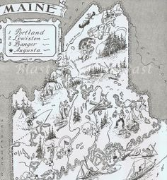 MAINE Vintage MAP  Adorable Beautifully by BlastsFromThePast, $14.95