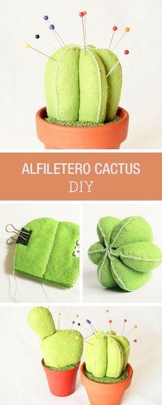 Toturial DIY: Cómo hacer un alfiletero de fieltro con forma de cactus - Manualidades y costura en DaWanda.es