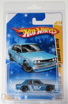 2009 Hot Wheels New Models # 37 Datsun Bluebird 510 Blue 37/42 Snowflake Card
